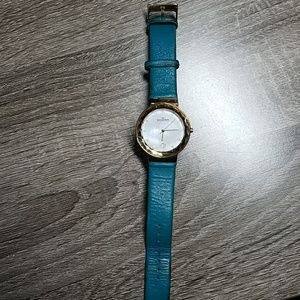 Skagen MOP teal and gold tone watch